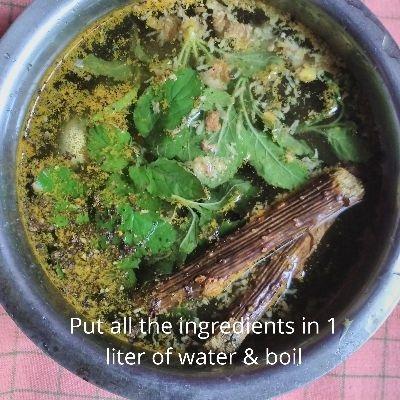 all ingredients of kadha in 1 liter of water