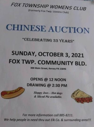 10-2 Fox Twp. Womens Club Chinese Auction, Kersey