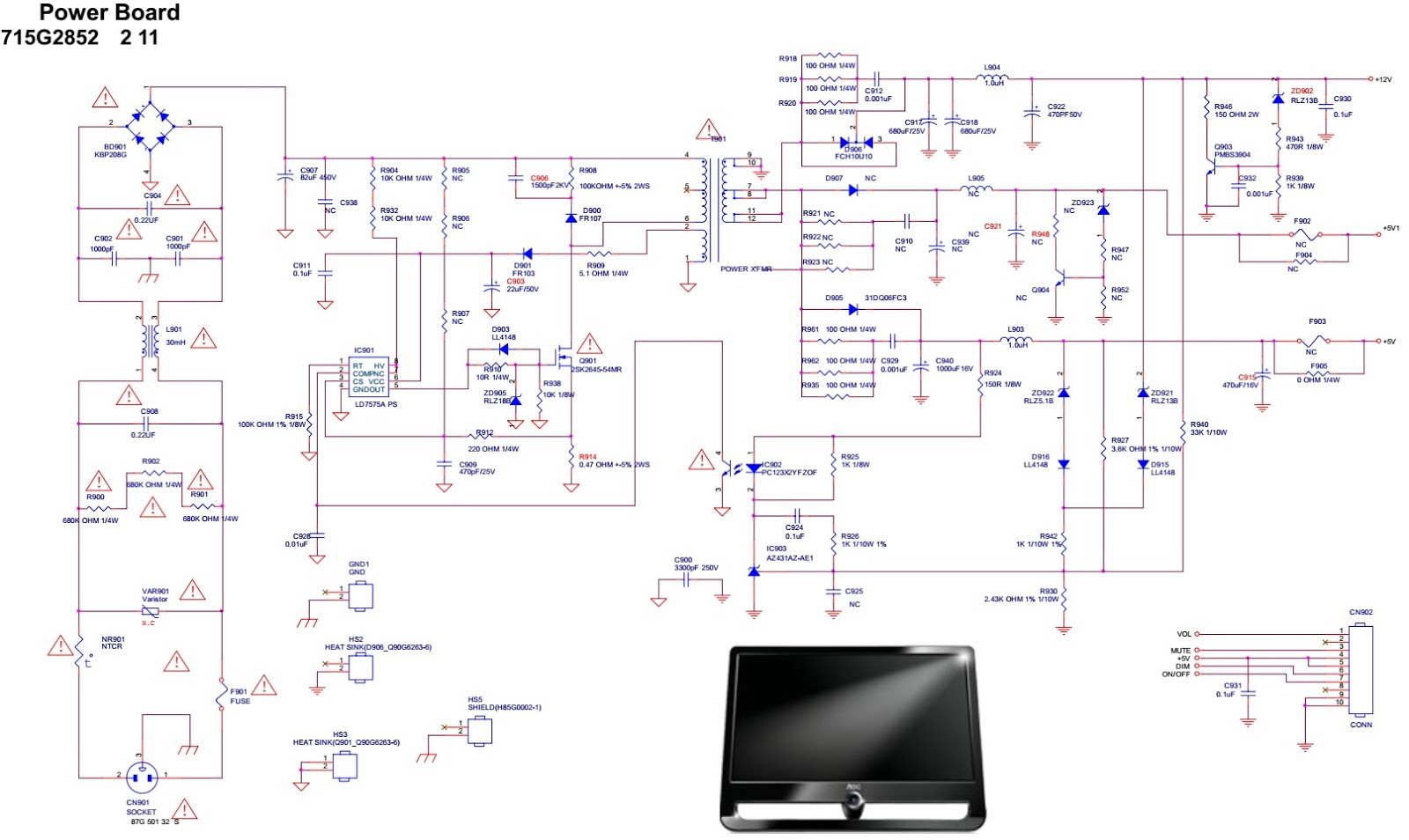 AOC%2BF19s%2B18.5%2Binch%2BLCD%2BMonitor%2B%2BSMPS%2Bschematic aoc f19s 18 5 inch lcd monitor how to update the software, smps