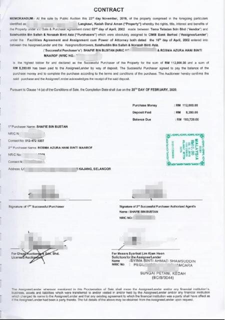 """Dokumen Pembelian Rumah """"Busuk"""" yang dibeli pada harga RM112 ribu"""