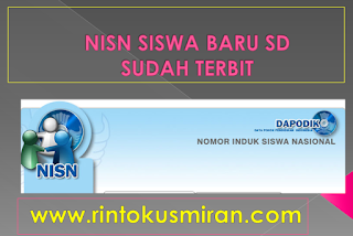 NISN SISWA BARU SD SUDAH TERBIT