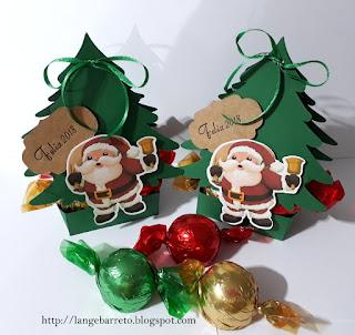 Caixa árvores natal para bombons