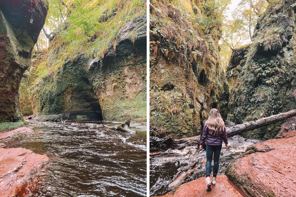 Travel blogger Amanda Martin of Amanda's OK hikes to Finnich Glen in Scotland