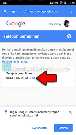 cara mengganti nomor telepon di android