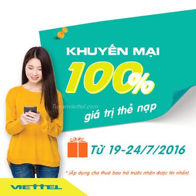 Viettel khuyến mãi 100% thẻ nạp ngày 19 đến 24/7/2016