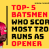 Top-5 best Opener batsmen who made Most T20 runs as Opener