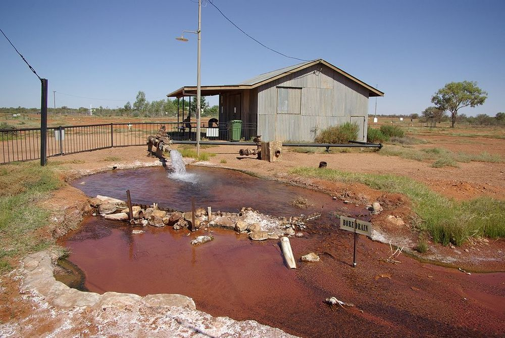 Hot water bore hole into the Great Artesian Basin in Thargomindah