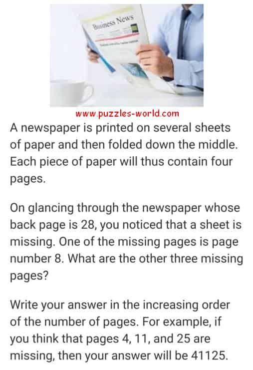 Three missing pages of Newspaper puzzle