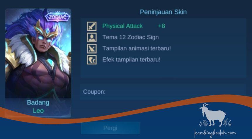 Skin Badang - Leo(23 Juli-22 Agustus)