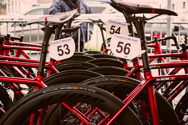 Vitus Pro Cycling team bikes racked up and ready to race.