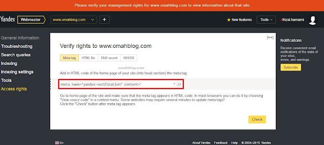Mendaftarkan Blog Pada Yandex Webmaster