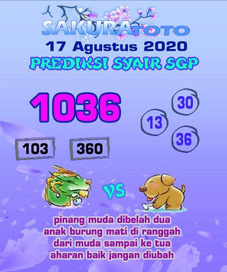 Prediksi Sakuratoto SGP Senin 17 Agustus 2020