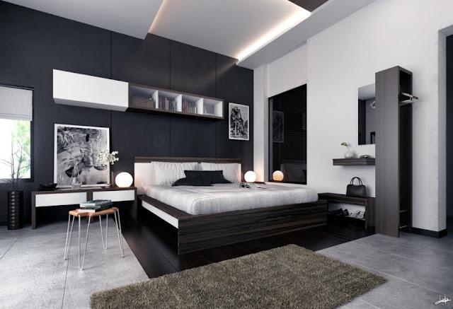 id e d co chambre noir et blanc. Black Bedroom Furniture Sets. Home Design Ideas
