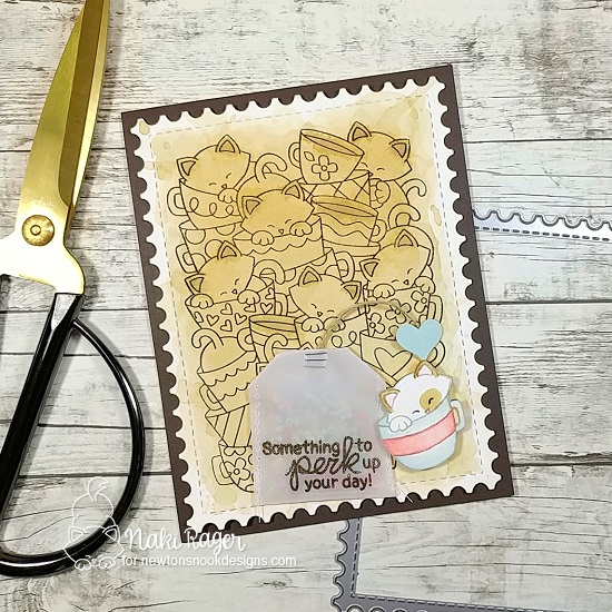 Cat and Coffee Card by Samantha Mann | Caffeinated Cats Stamp Set and Framework Die Set by Newton's Nook Designs #newtonsnook #handmade