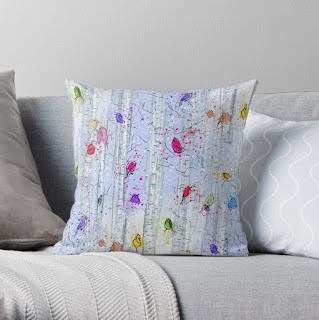 Whimsical rainbow birds on birch trees patterned throw pillow