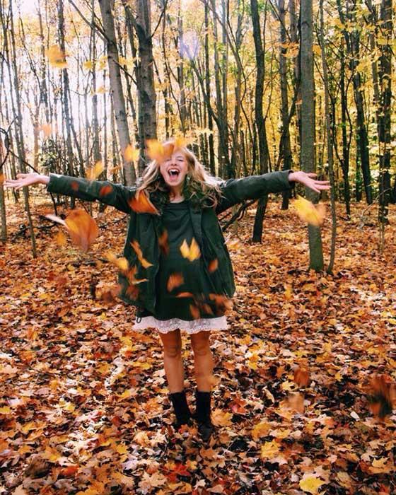 poses tumblr otoño bosque