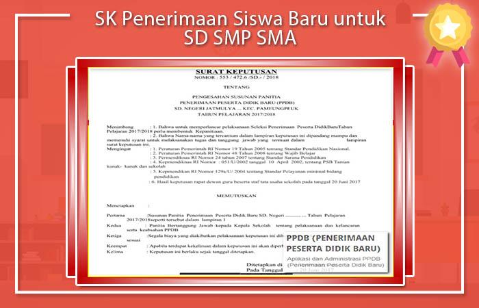 SK Penerimaan Siswa Baru 2017