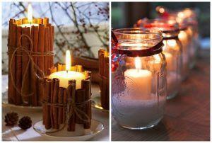 velas decoradas com canelas e velas em potinhos de vidro