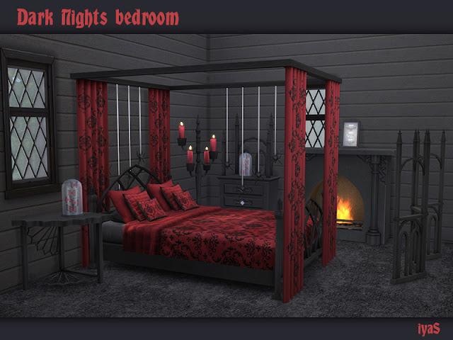 Dark Nights Bedroom Спальня Темных Ночей для The Sims 4 Набор темных ночей для ваших готических симов. Включает в себя 11 объектов: - кровать - подушки для кровати - шторы для кровати - тумбочка - комод - перегородка - канделябры - камин - бабочки - летучие мыши - пауки.