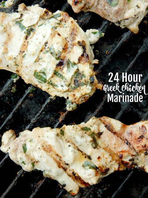 24 Hour Greek Chicken Marinade...this will be your NEW, favorite marinade!  5 minute prep and can stay marinating for up to 24 hours.  Creamy, lemony, garlicky and perfect for summer! (sweetandsavoryfood.com)