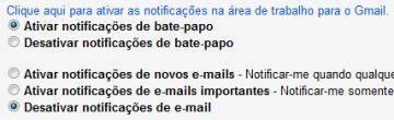 Ative as notificações no desktop para mensagens recebidas do Gmail