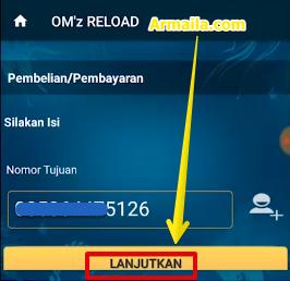 Masukkan nomor tujuan lalu klik lanjutkan