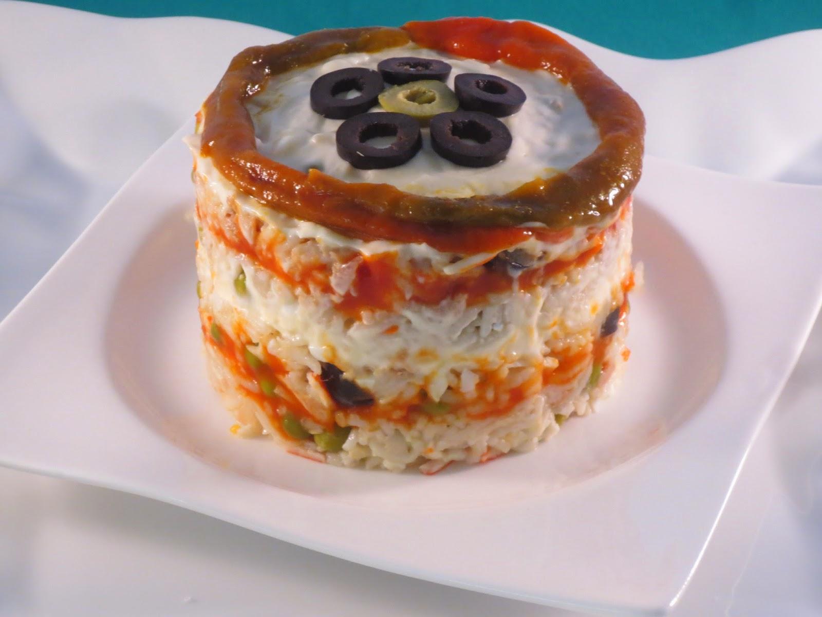 Pastel de ensalada de arroz olla GM