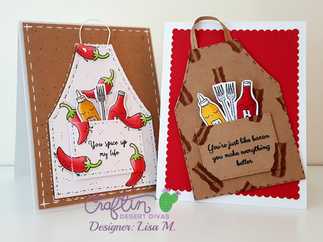 Greeting card featuring aprons with bacon and hot peppers for men