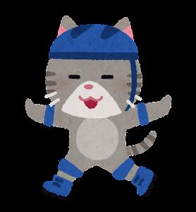ローラースケートに乗る動物のキャラクター(猫)