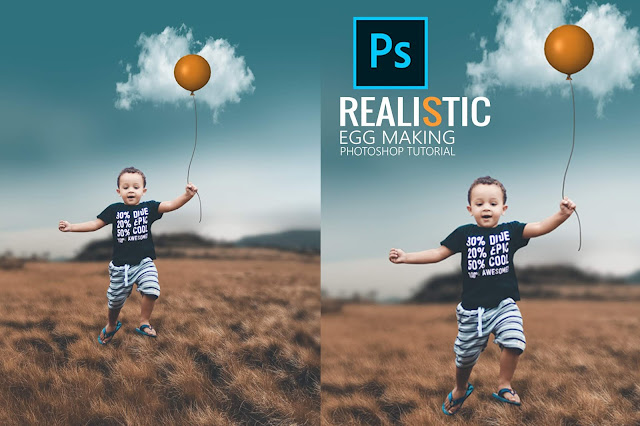 Realistic egg making with balloon and clouds in photoshop
