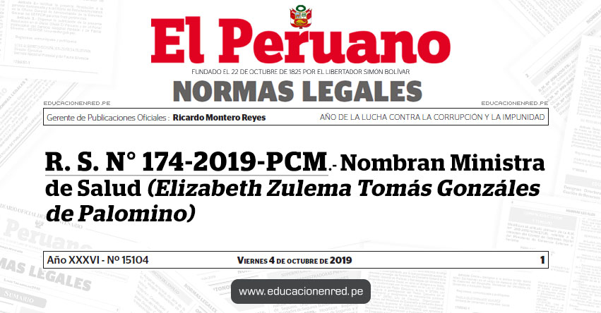 R. S. N° 174-2019-PCM - Nombran Ministra de Salud - MINSA (Elizabeth Zulema Tomás Gonzáles de Palomino) www.minsa.gob.pe