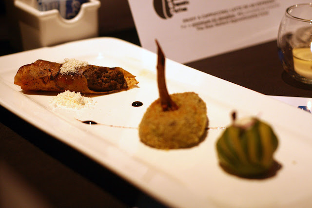 Appetizer course of avocado & deer onigri red wine infused deer croquette, smokey wild mushroom & deer cigar.
