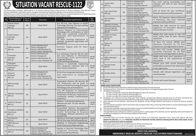 New Jobs in RESCUE 1122 2020