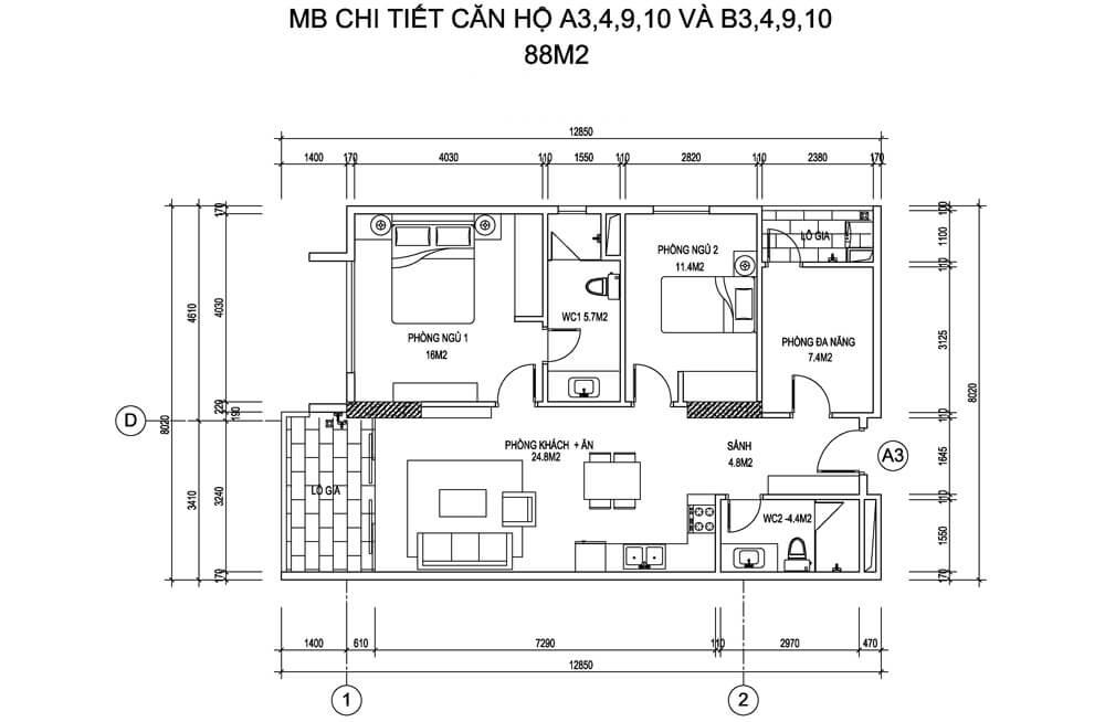 Mặt bằng căn hộ A3, 4, 9, 10 và B3,4, 9, 10 diện tích 88m2 - Thống Nhất Complex