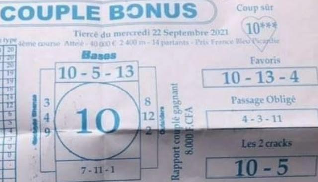 Pronostics quinté pmu Mercredi Paris-Turf-100 % 22/09/2021