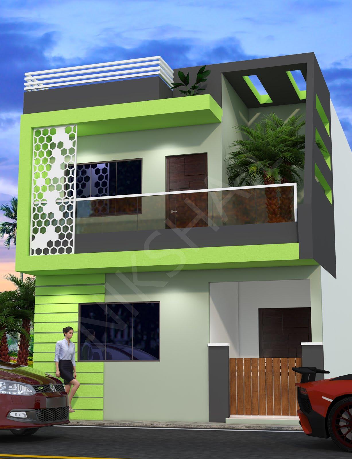 20x50 front elevation design color option 2