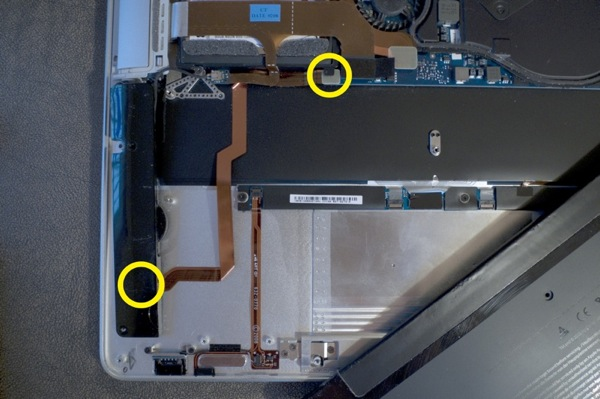 Internal parts of Mac- replace audio flex cable in case of no audio