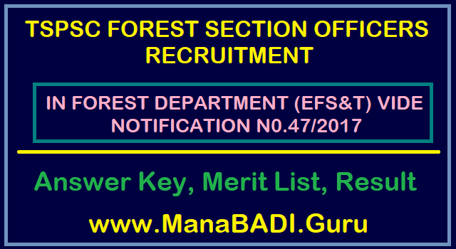 TS Jobs, TSPSC, Forest Department, Forest Section Officer, FSO Result, TS Results, Answer Key