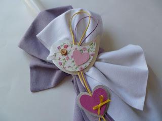 σετ βάπτισης με θέμα πουλάκια για κορίτσι με καρδούλες ροζ λιλά
