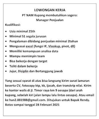 Lowongan Kerja di PT NAM Kupang Sebagai Manager Penjualan