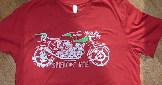 New - by popular demand: red Spirit of 1978 tee shirt. And news on the real Hailwood bike