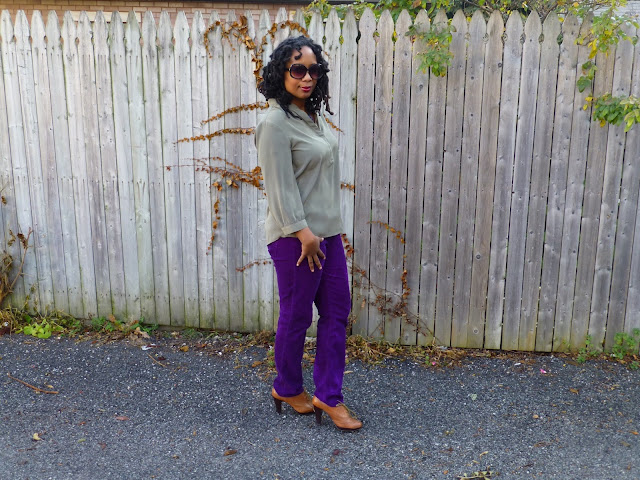 Green tunics and purple pants
