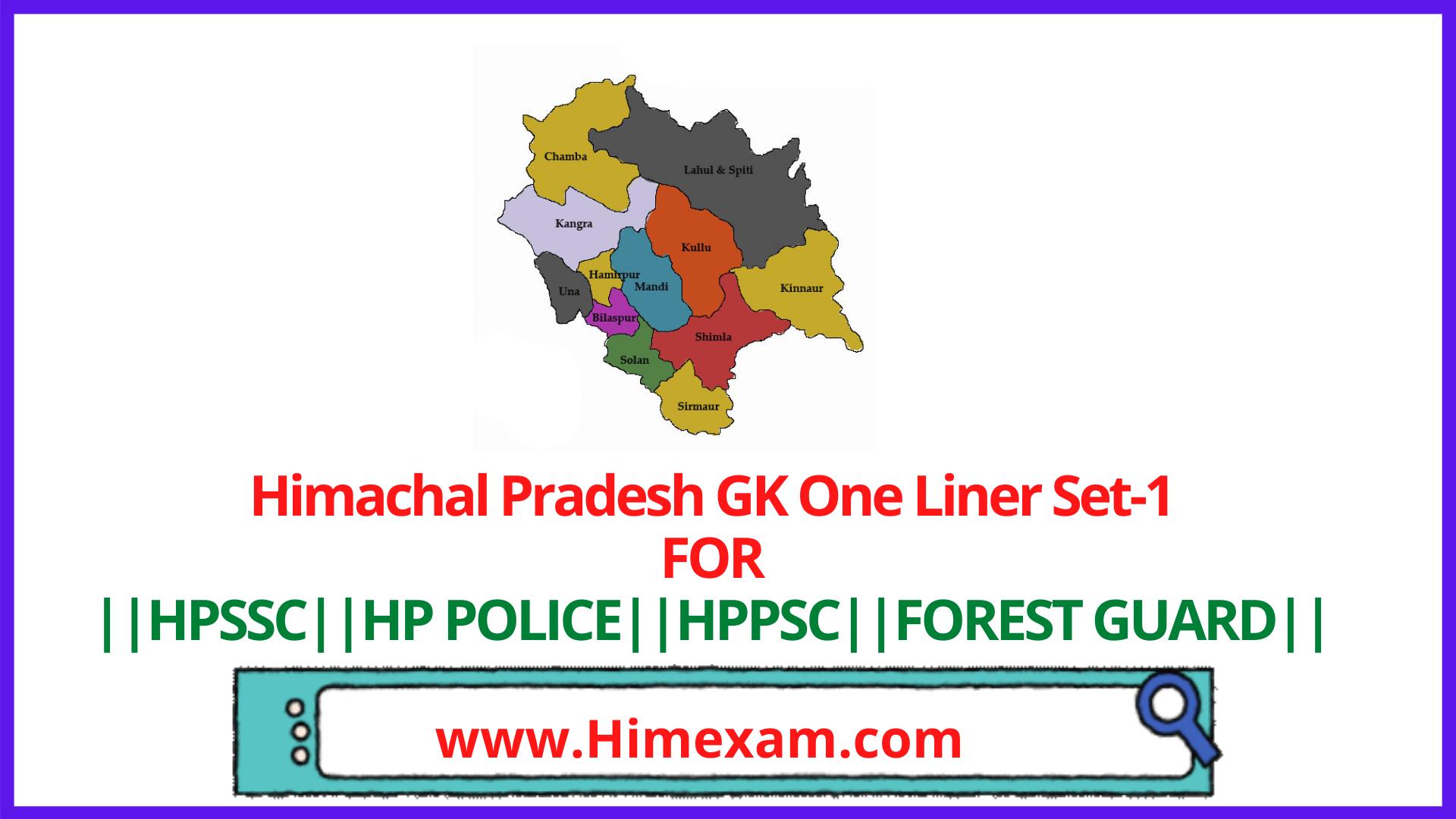 Himachal Pradesh GK One Liner Set-1