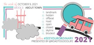 Week of October 9, 2021's theme is About Me. 9-Landmark. 10-Hidden. 11-Offbeat. 12-Road. 13-Open. 14-Closed. 15-Skyline. 16-Blocked.