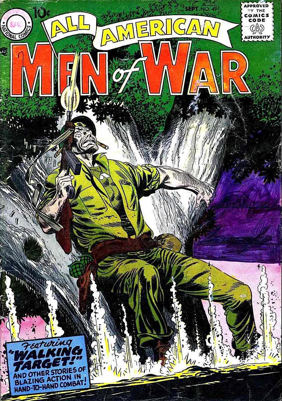 a Jerry Grandenetti 1960s comic book cover for Men Of War #49