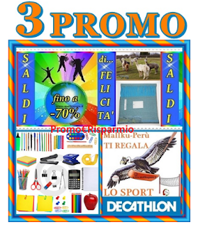 Logo Tre promozioni cumulabili: saldi fino al 70% + omaggio sicuro + Card Decathlon