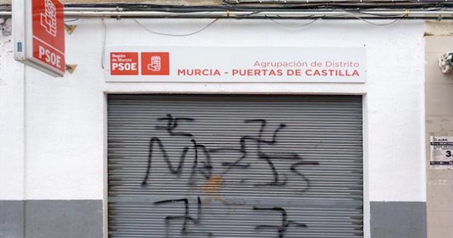 Aparecen pintadas fascistas en la Agrupación del PSOE Puertas de Castilla