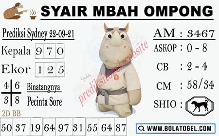 Syair Mbah Ompong Sydney Rabu 22 September 2021