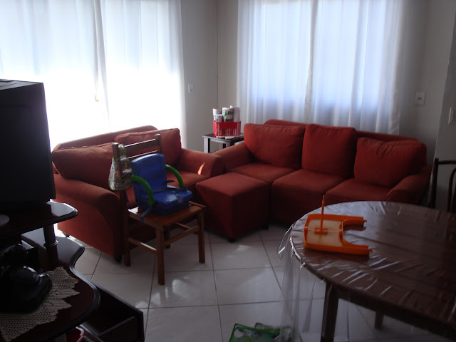 Sala de estar do apê antes
