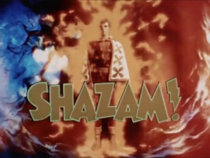 'Shazam!' logo over screencap of Jackson Bostwick as Captain Marvel in 1975